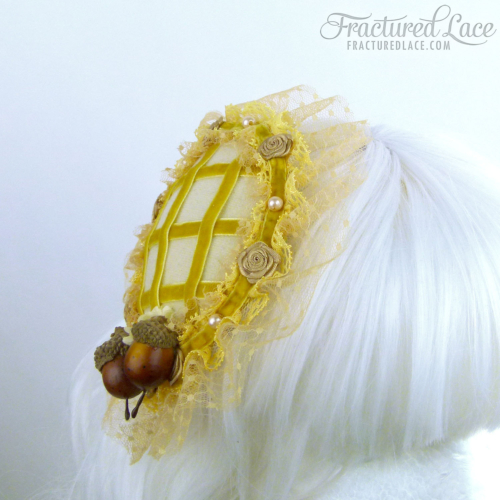 Acorn Pie Fascinator - golden yellow and cream on a circular base