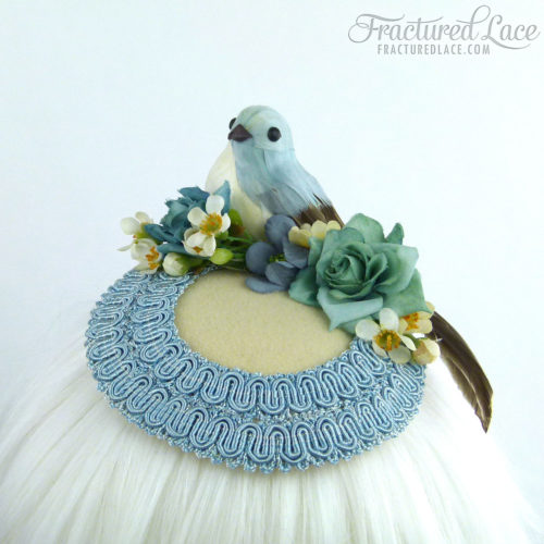 Limited Edition: Bluebird Fascinator with Teatree - Blue and Cream on a circular base