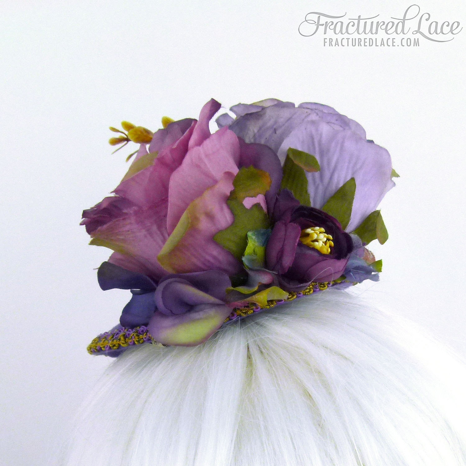 Limited Edition: Deep Purple Fascinator with Roses and Peonies on a Teardrop Base
