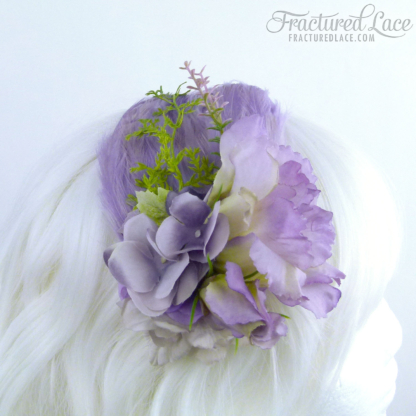 Limited Edition: Light Purple Fascinator with gladiolus and hydrangea on a feathered base