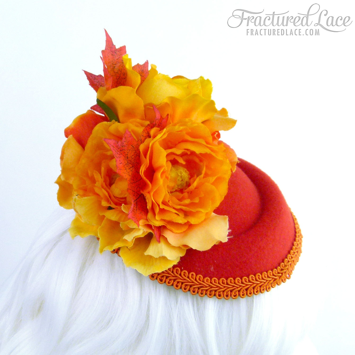 Limited Edition: Red and Orange Pillbox Fascinator with Autumn Leaves