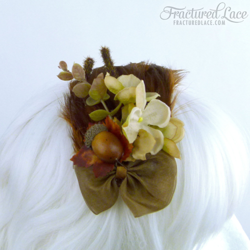 Limited Edition: Vintage-inspired Acorn Fascinator - Browns and creams on a feathered base