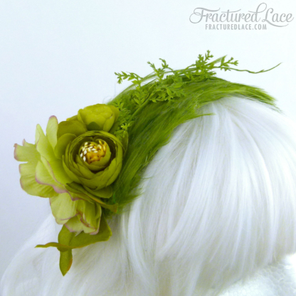 Limited Edition: Vivid green fascinator with flowers and vines on a feathered base