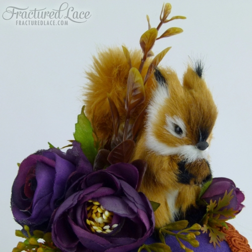 Limited Edition: Woodland Squirrel Fascinator with Peonies - Purple and red brown on a circular base