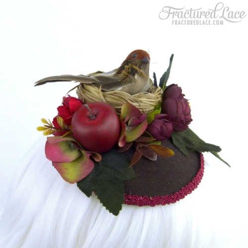 Limited Edition: Woodlands Bird Fascinator with Apple - burgundy and brown