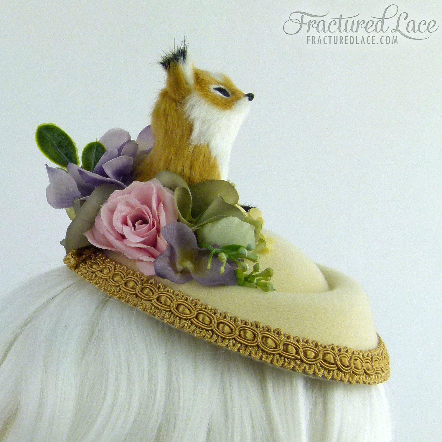 Limited Edition  Woodlands Fox Fascinator with Delicate Flowers - pastel  pink 65a9ef3fc8d