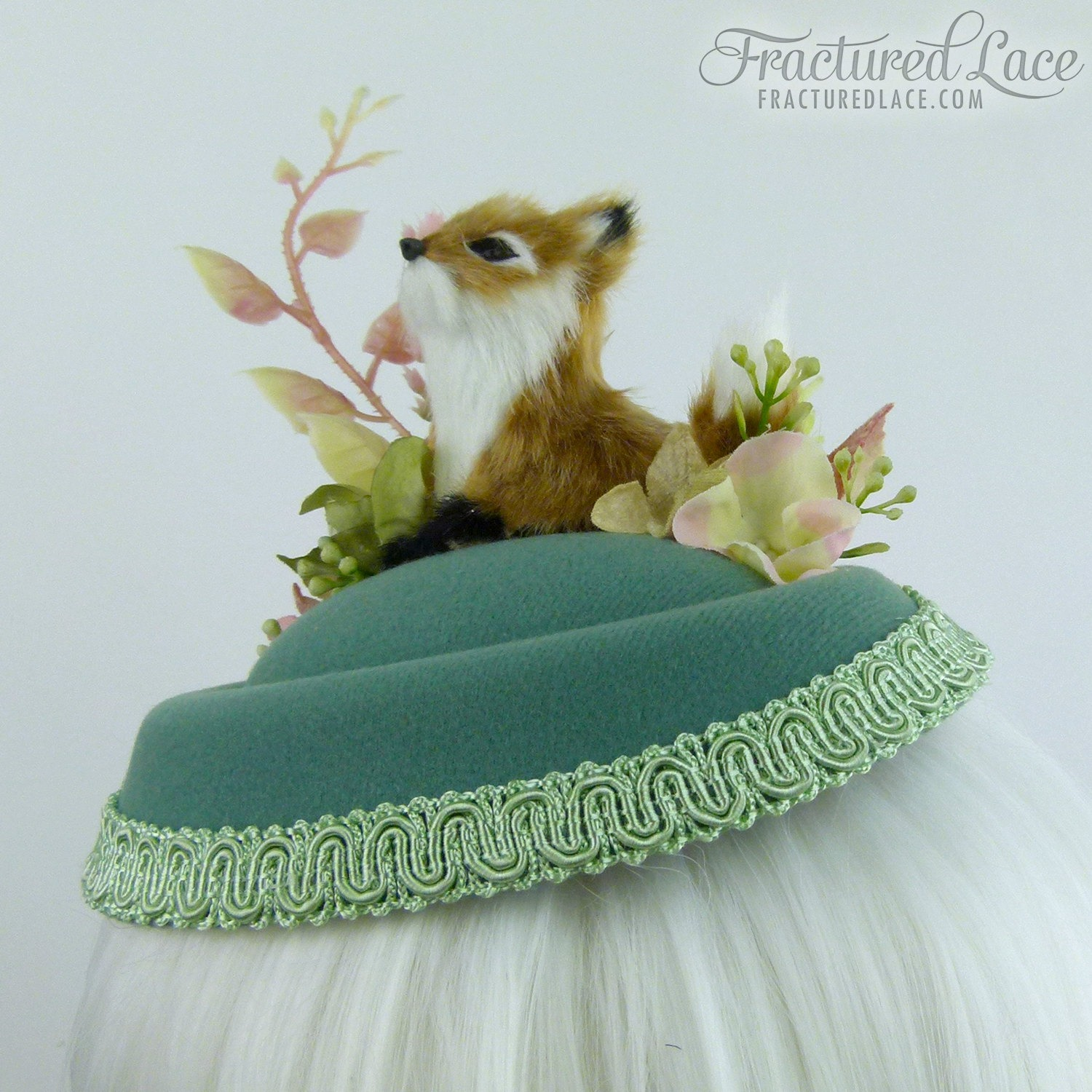 Limited Edition  Woodlands Fox Fascinator with Velvet Hydrangea and Other  Flowers - delicate green ab3ed5704d3