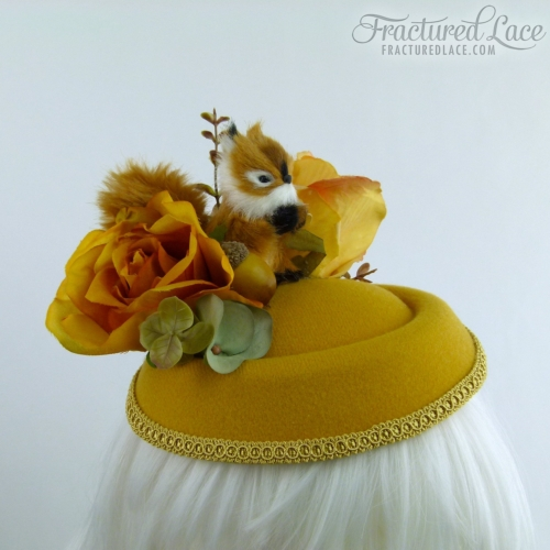 Limited Edition: Woodlands Squirrel Fascinator with Acorn, Roses and Hydrangea - Warm gold and autumn browns on a pillbox base