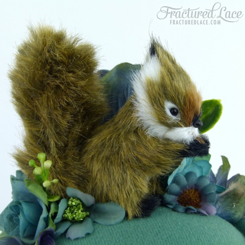 Limited Edition: Woodlands Squirrel Fascinator with Roses and Hydreangea - Sage green, teal and blue on a pillbox base