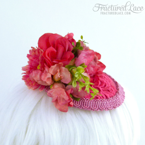 One of a kind: Sweetpea, Peony and Lace Fascinator - coral pink on a circular base