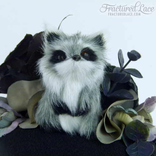 One of a kind: Woodlands Raccoon Fascinator with Roses and Hydrangea -  black, gold and grey on a pillbox base