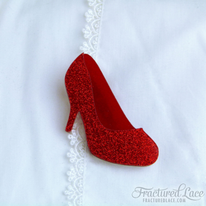 Ruby Slipper Brooch - Wizard of Oz Inspired (Red Glitter Shoes)