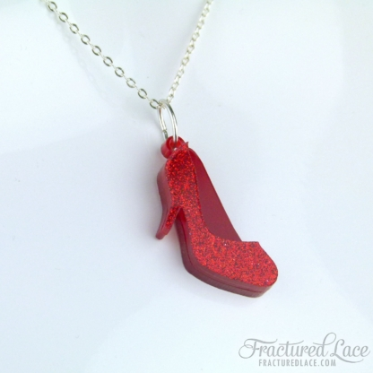 Ruby Slipper Necklace - Wizard of Oz Inspired (Red Glitter Shoes)